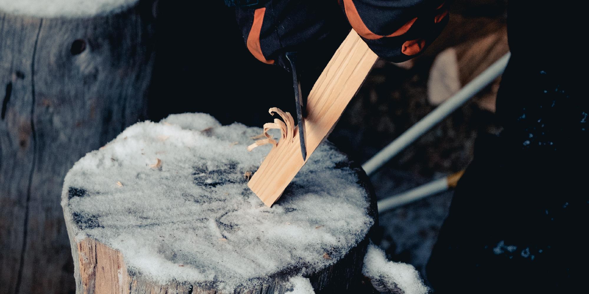 Oak Log Chipping 2